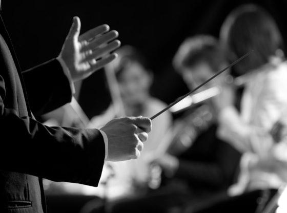 L'immagine mostra un direttore d'orchestra in opera